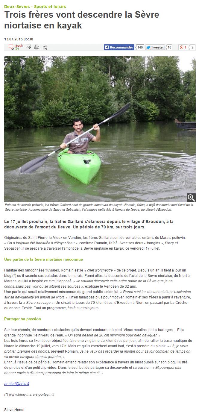 Revue de presse - Trois frères vont descendre la Sèvre niortaise en kayak   13 07 2015   La Nouvelle République Deux Sèvres