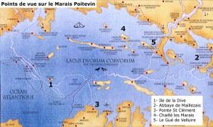 carte du golfe des pictons et des points de vue