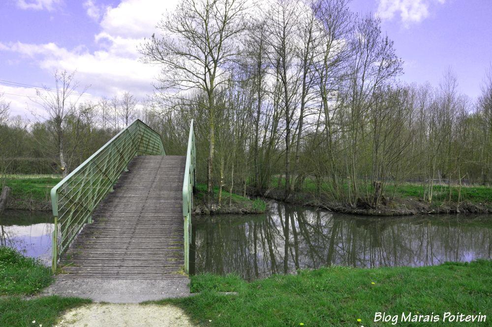 Point vélo et piéton dans le Marais Poitevin à Saint Hilaire la Palud