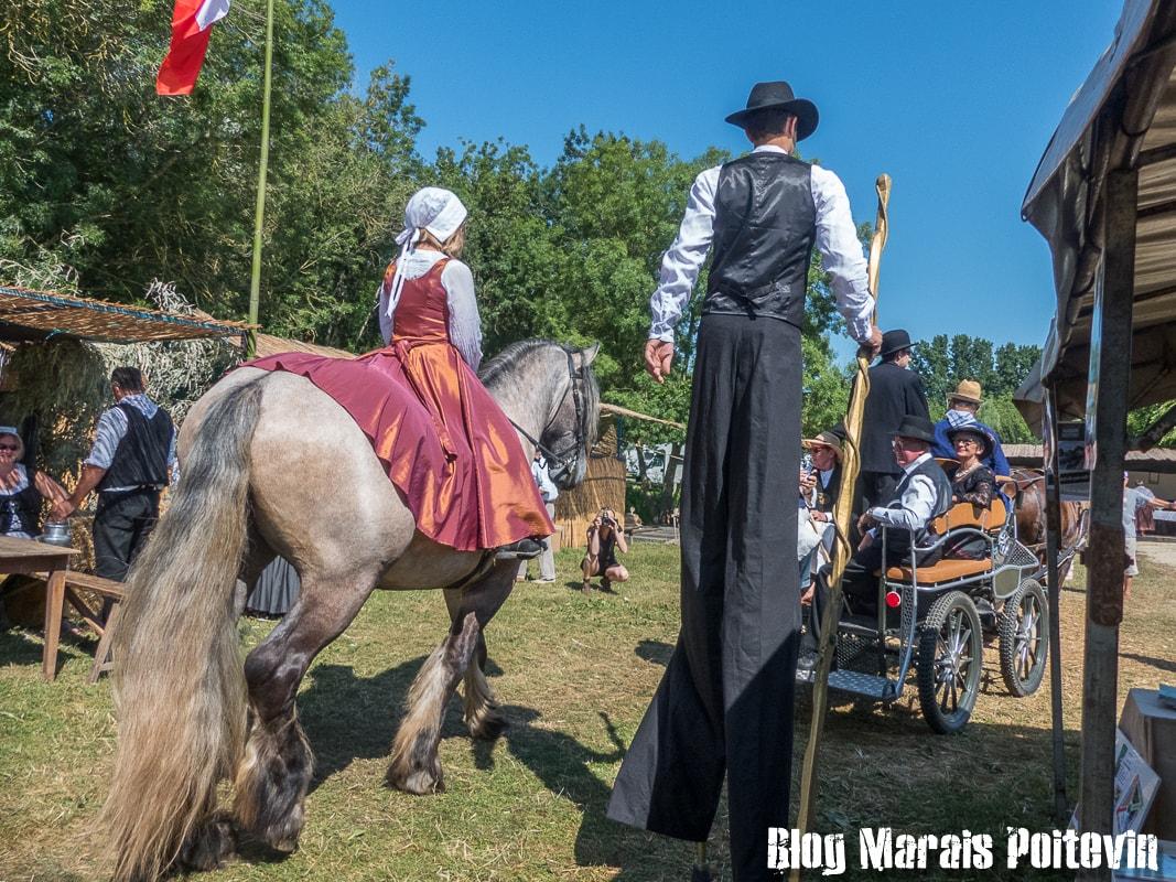 Fete du mijet coulon juillet 2018 cheval et maraîchin sur échasses marais poitevin - 1