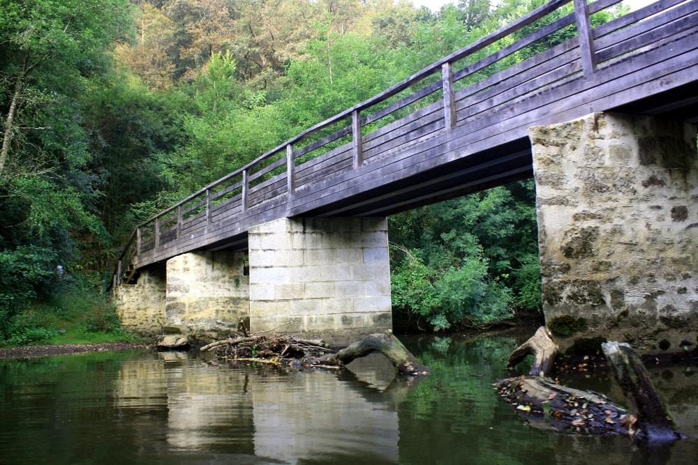 Pont sur la rivière Vendée en forêt de Mervent