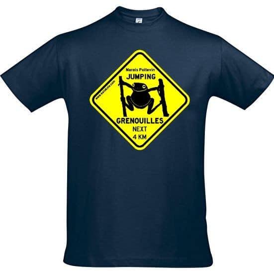 tee shirt jumping grenouille bleu marin adulte