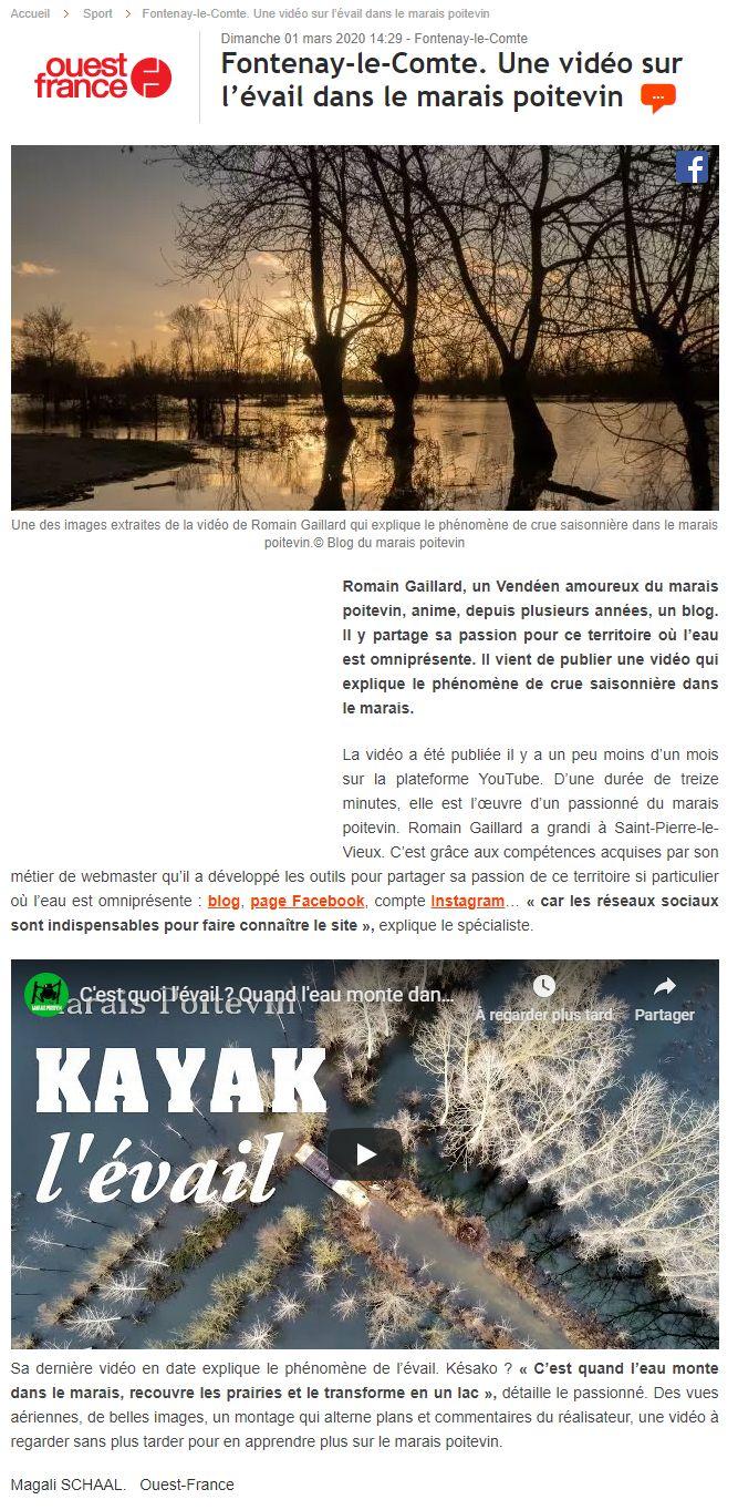 article-ouest-france-mars-2020-vidéo-évaille-marais-poitevin-romain-gaillard