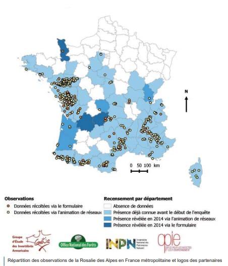 carte répartition rosalie des alpes en France
